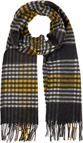 Johnstons of Elgin Grey and Yellow Sports Check Cashmere Scarf