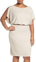 Sangria Plus Size Women's Glitter Knit Blouson Dress