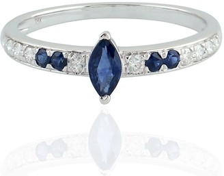 Artisan 18 White Gold Marquise Blue Sapphire Engagement Ring