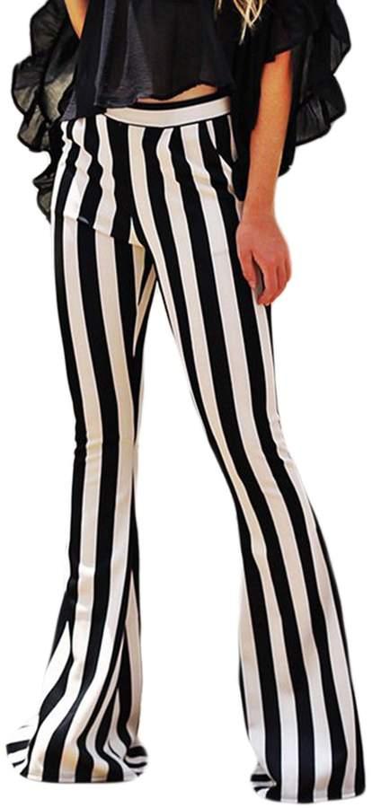 89acaa795a Suvimuga Womens Long Pants Stripe Bell Bottoms Summer Ladies Flared  Trousers M