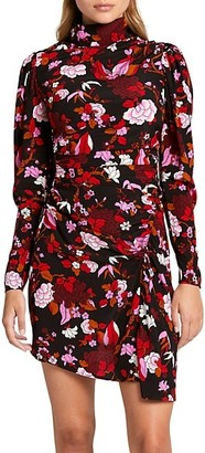 A.L.C. Marcel Floral Draped Stretch-Silk Dress