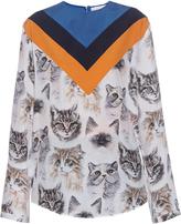 Stella McCartney Chevron cat-print long-sleeved top