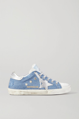 Golden Goose Superstar Distressed Denim And Leather Sneakers - Light denim