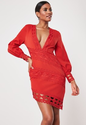 Missguided Red Crochet Lace Plunge Mini Dress