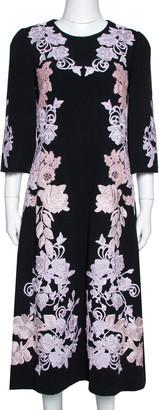 Dolce & Gabbana Black Crepe Floral Lace Appliqued Midi Dress M