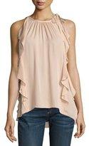 Ramy Brook Tiera Tie-Shoulder Silk Ruffle Top, Blush