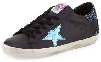 Golden Goose Superstar Leather Platform Low-Top Sneakers with Glitter Back