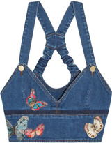 Valentino Embroidered appliquéd stretch-denim bustier top