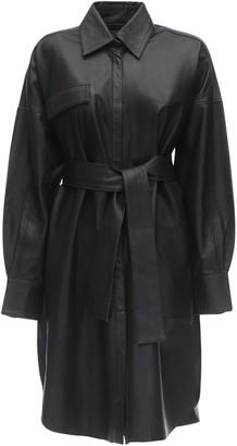 Remain Bologna Leather Shirt Dress