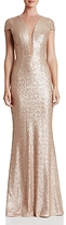 Dress the Population Michelle Illusion-Neck Sequin Gown
