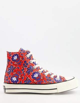 Converse Chuck 70 Hi trainers in red floral print