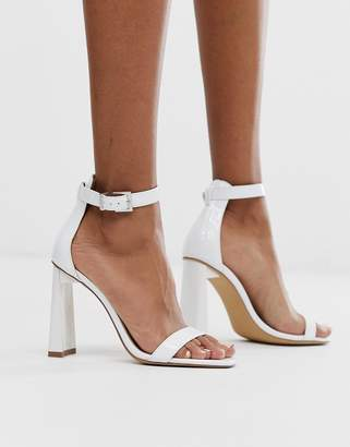 Public Desire white barely there sandals