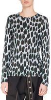 Proenza Schouler Ikat Leopard Long-Sleeve T-Shirt, Blue/Deep Pine/Black