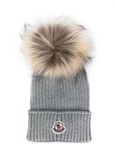 Moncler classic knitted beanie - kids - Racoon Fur/Virgin Wool - 44 cm