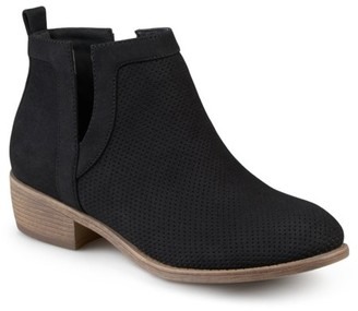 Brinley Co. Women's Faux Suede Cut-out Pinhole Round Toe Boots