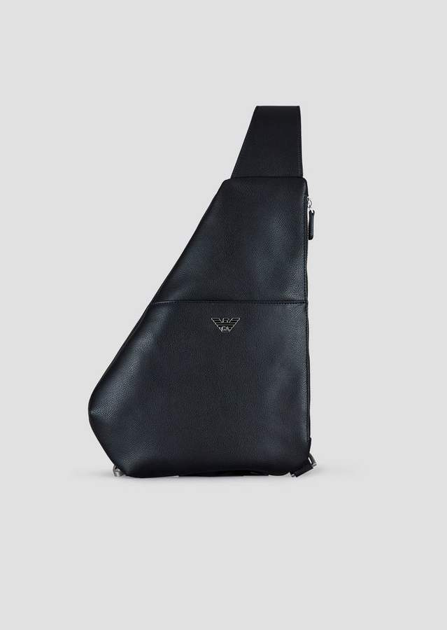 Emporio Armani Single Strap Backpack In Boarded Leather With Metal Logo