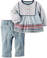Carter's Baby Girl Paisley Henley & Jeans Set