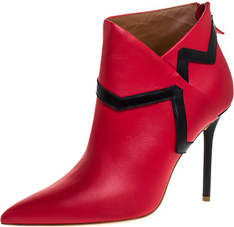 Malone Souliers Red/Black Leather Amelie Pointed Toe Ankle Boots Size 40.5