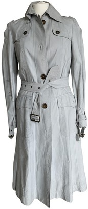 Burberry Blue Leather Trench Coat for Women