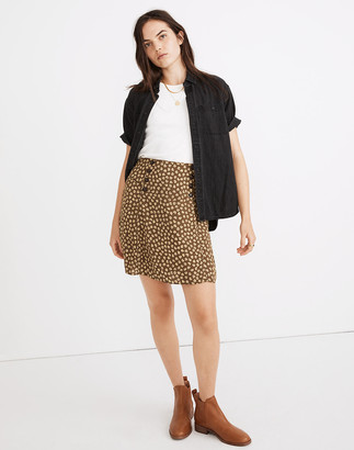 Madewell Piped Mini Skirt in Woodcut Flowers