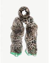 BEATRICE JENKINS Leopard Lux silk scarf