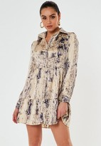 Missguided Stone Snake Print Button Front Smock Shirt Dress