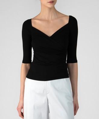 Atm Pima Cotton Crossover Half Sleeve Top - Black