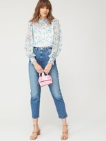 Very Mesh Mix High Neck Long Sleeve Print Blouse - White Floral