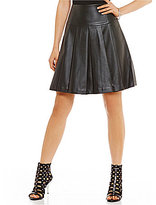 MICHAEL Michael Kors Faux Leather Pleated A-Line Skirt