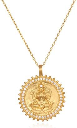 Satya Jewelry White Topaz Gold Lakshmi Pendant Necklace 30-Inch One Size
