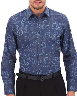 Jacamo Blue Print Long Sleeve Formal Shirt