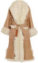 Loewe Reversible Belted Shearling And Suede Coat - Beige