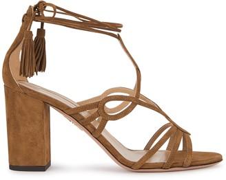 Aquazzura Gitana 85 brown suede sandals