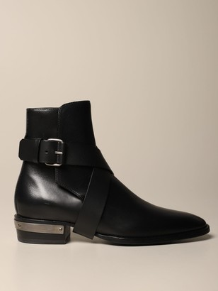 Balmain Leather Ankle Boot With Crossed Strap