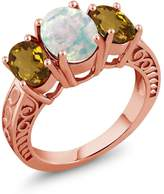 Gem Stone King 2.00 Ct Oval Cabochon White Simulated Opal Whiskey Quartz 18K Rose Gold Plated Silver Ring