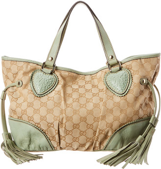 Gucci Gg Canvas & Light Green Leather Babouska Crest Tote