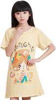 HAPPY CHERRY Cute Cotton Girls Nightgowns Pajamas Yellow Year 5-6