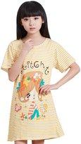 HAPPY CHERRY Cute Cotton Girls Nightgowns Pajamas Yellow Year 7-8