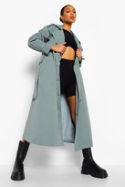 Thumbnail for your product : boohoo Oversized Woven Belted Trench Coat