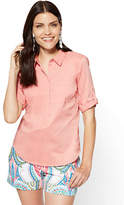 New York & Co. 7th Avenue - Madison Stretch Shirt - Popover - Peach