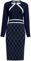 Chloé Rumour London Bow Jacquard Knitted Dress In Midnight Blue