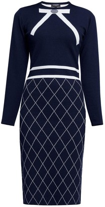 Chloé Bow Jacquard Knitted Dress In Midnight Blue