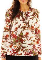 Liz Claiborne Long-Sleeve Tie-Neck Print Blouse