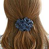 Coromose Women Handmade Flower Banana Barrette Hair Clip Hair Pin Claw (Blue)
