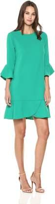 ECI New York New York Women's 3/4 Ruffle Sleeve and Hem Shift Dress