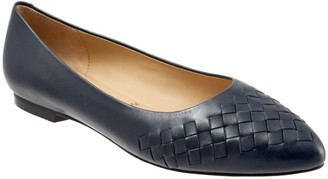 Trotters Pointed Toe Leather Flats - Estee Woven