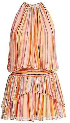Ramy Brook Tobie Striped Blouson Silk Dress