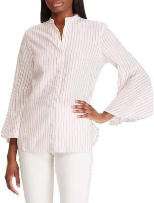 Chaps Relaxed-Fit Striped Bell-Sleeve Cotton Linen Top