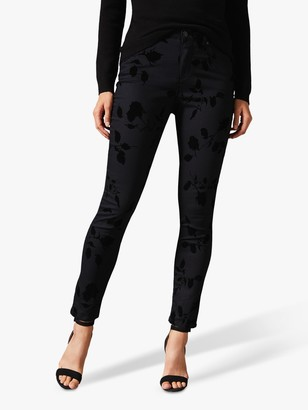 Phase Eight Aida High Waisted Rose Flocked Skinny Jeans, Black