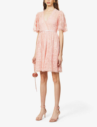 Trudy Belle floral-embroidered mesh mini dress